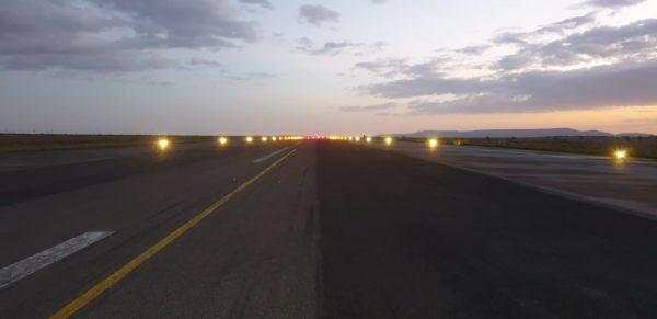 Solar runway lighting at night