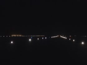 Solar airfield lighting at night