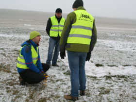 S4GA Engineers installing portable runway lights Poland