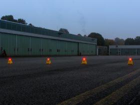 Barricade light on civil airfield