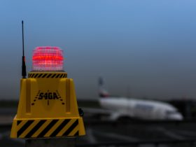 SP-401 Obstruction light on terminal building of civil airfield