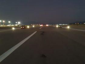 S4GA Solar runway lights at night