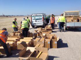 Unpacking S4GA solar runway lights at Thessaloniki Airport Greece