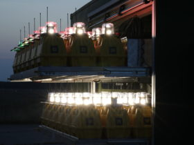 Portable Runway Lights at night - S4GA Trailer
