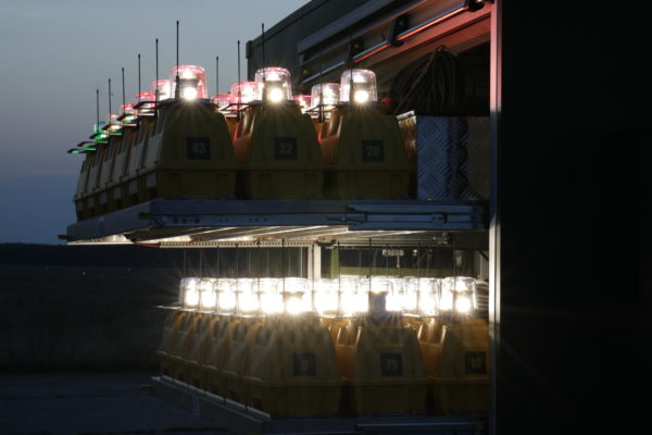 Portable airfield lights in trailer