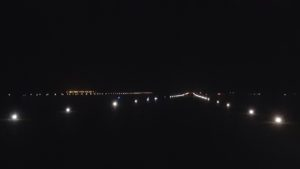 Solar runway lights at night