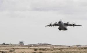 Military airplane landing