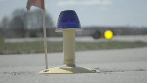 blue taxiway light
