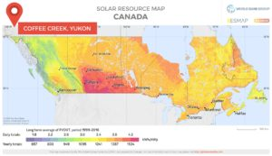 Solar resource map Coffee Creek Yukon Canada