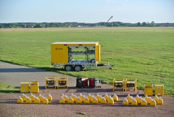 Portable Runway Lights in a Trailer
