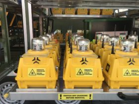SP-401 portable airfield lights inside military trailer