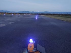 Solar taxiway lights at night